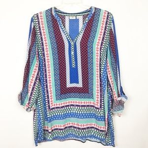 CATO patchwork print 3/4 sleeve top 378